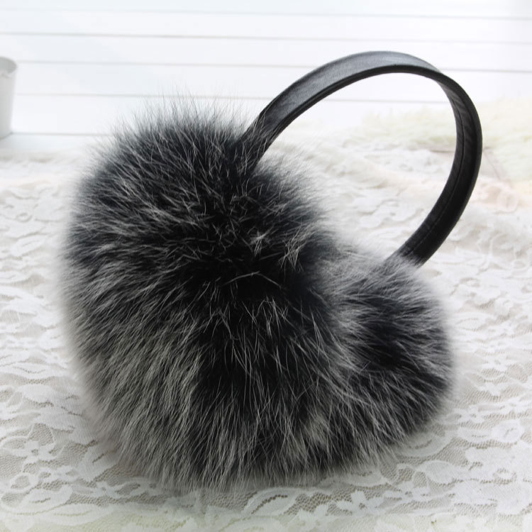 ZDFURS * New Fashion Cute Oversized Fox Fur Earmuffs Warm Fur Earmuffs Real Fur Earmuff