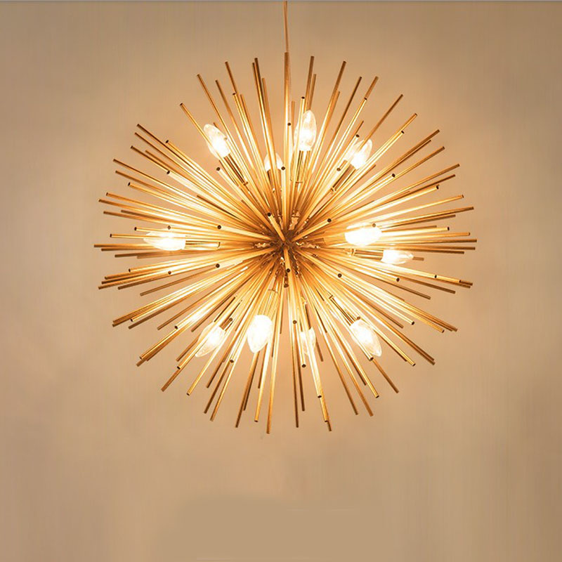 craft metal lighting. Aliexpress.com : Buy Golden Dandelion Metal Designer Decoration Stainless Steel Ball Craft Chandelier Led Light Fixture Lamps Iron Lighting For Home From