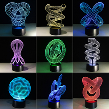 Abstract Circle Love Knot Bulbing 3D LED Light Hologram Illusion 7 Colors Change Decor Lamp Best Night Gift Drop Shipping