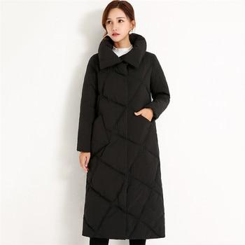 Winter Jacket Women 2018 New Stand Collar Loose Medium Long Female Down Jacket Fashion Dark Buckle Thick Warm Women Parks Cw294