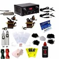 Complete Tattoo Kit 2 Machine Rotary Tattoo Gun Set Power Supply outlining black Color Inks 8.5Oz