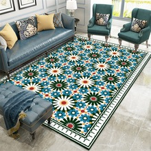 купить Fashion Geometric stitching Flower plush carpet Bedroom living room door mat Non-slip bedside rug custom made bathroom floor mat по цене 1494.11 рублей