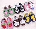 Fedex бесплатно Мягкой подошвой Кожа Младенца Мальчики Девочки Детская Обувь тапочки 0-6 6-12 12-18 18-24 Новый детские мокасины Нескользкой Доказательства для Детей обувь