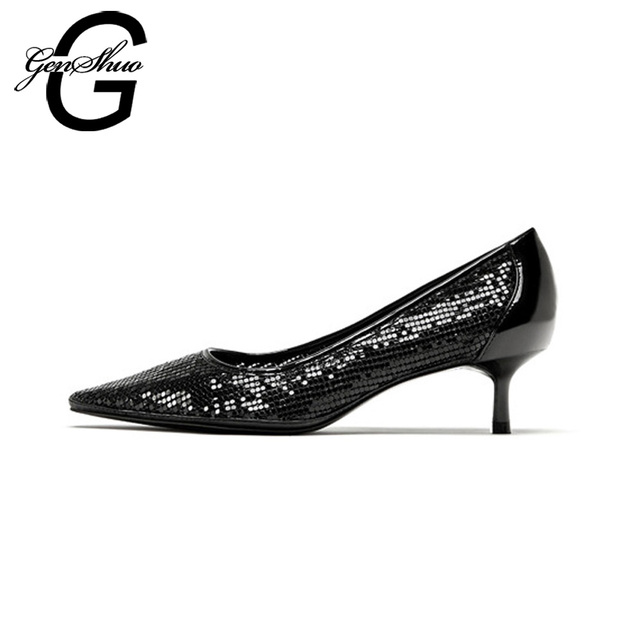 GENSHUO Women Pumps Black 5cm Stilettos Kitten Heels Shoes Pointed Toe Slip on Low Heel Bride Wedding Dress Shoes