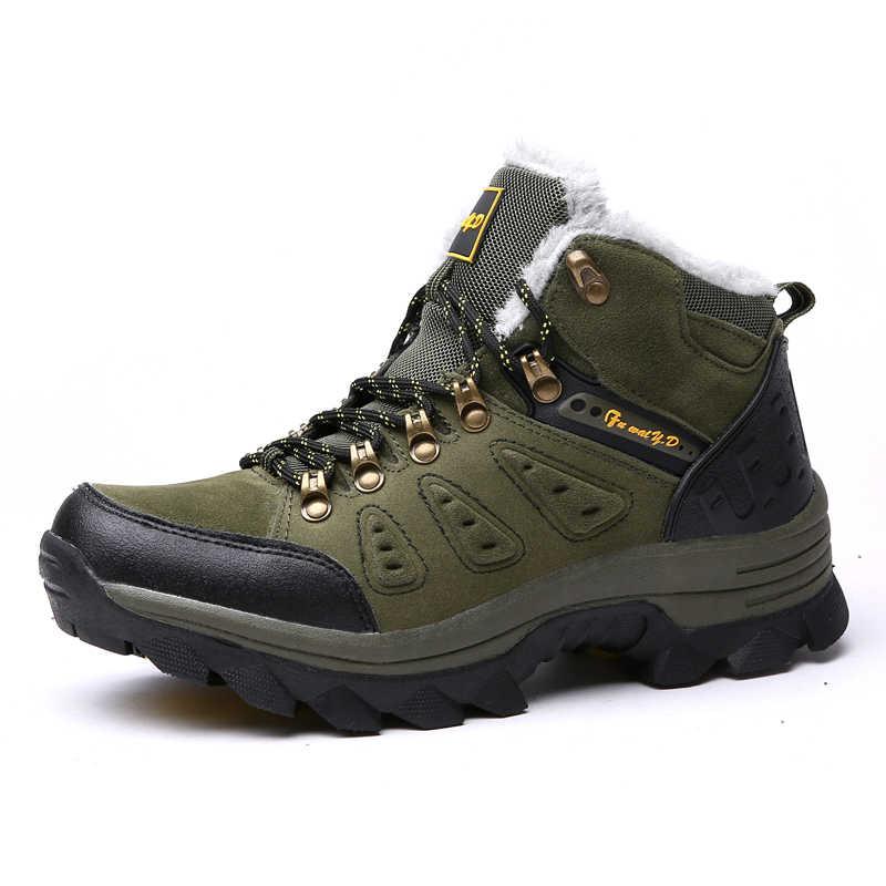 VANCAT/теплые зимние ботинки на меху Мужская обувь мужские повседневные ботильоны для взрослых и пар резиновый нескользящий уличные мужские ботинки Большие размеры 36-47
