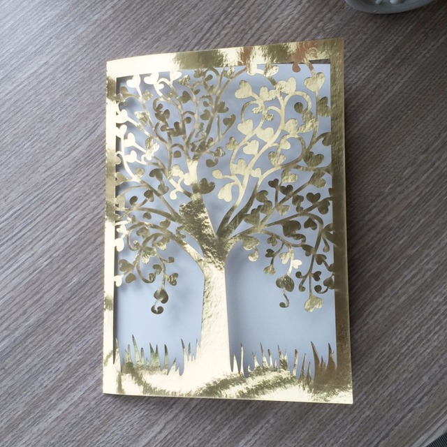 20pcs Romantic Laser Cut Wedding Invitation Card Tree Design Carved