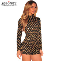 Women Black Gold Sequin Jumpsuit Shorts Long Sleeve Sequin Playsuit Women Rompers 2016 Turtleneck Bodycon Sexy