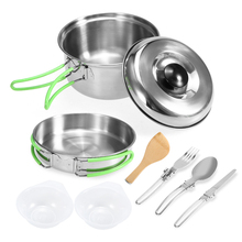 Lixada Camping Cookware Mess Kit Backpacking Hiking Picnic Outdoor Cooking Pot and Pan Set Cookset Tableware Cutlery Utensil Set