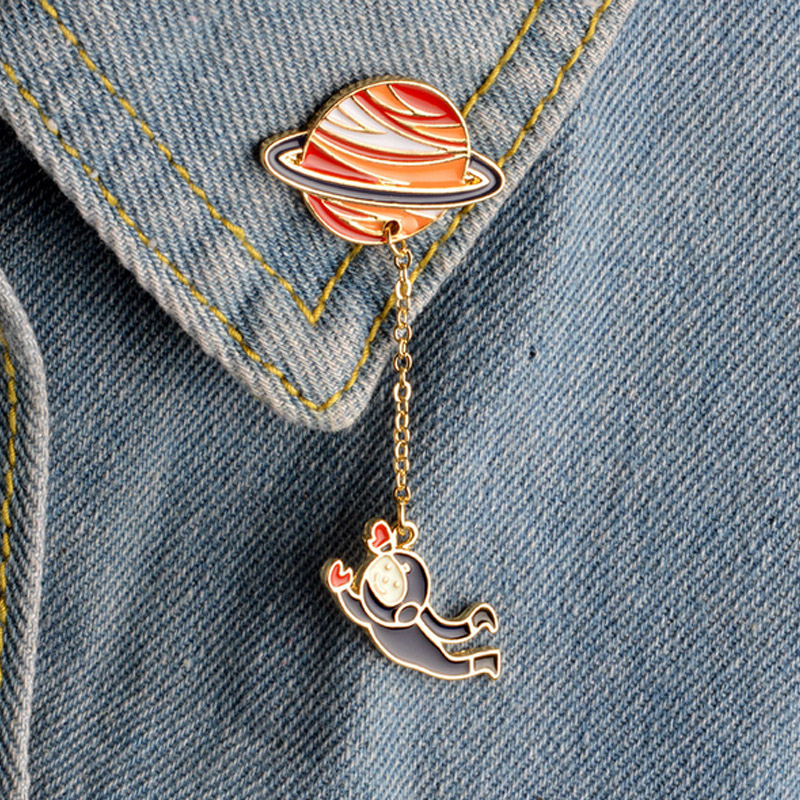 Fast Deliver 1 Pcs Creative Planet Rabbit Pilot Metal Brooch Button Pins Denim Jacket Jewelry Pin Decoration Badge For Clothes Lapel Pins Home & Garden Badges
