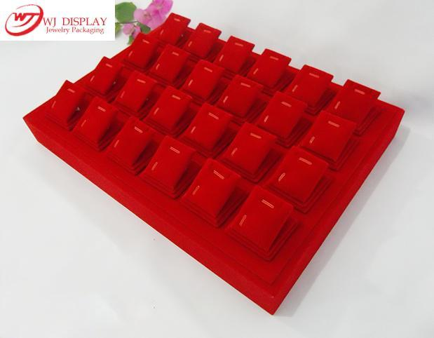 Higher Portable Red VelvetWooden Jewelry Display Stand Tray Holder