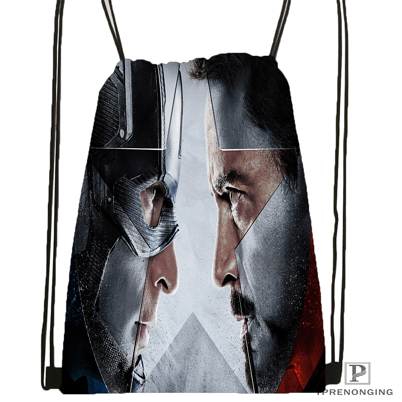 Custom Marvel Comics Avengers  Drawstring Backpack Bag For Man Woman Cute Daypack Kids Satchel (Black Back) 31x40cm#180531-01-42