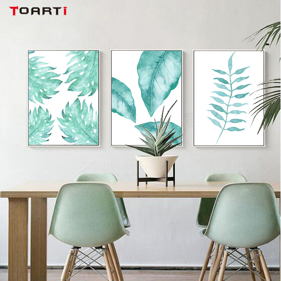 Nordic Style Natural Plant Tropical Leaf Wall Art Canvas ...