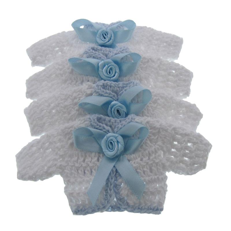 12ks miniaturní háčkování svetr květinovou stuhou miminko křest řemesla party dekorace 5,0 x 9,5 cm