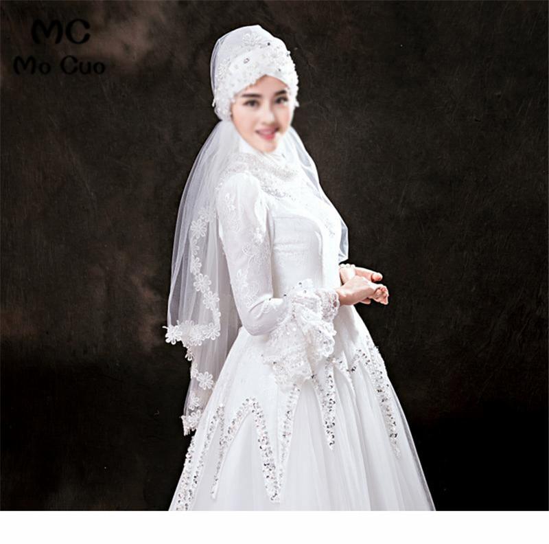 2018 Muslim Wedding Veil Appliqued 1 5 meters Bridal Veil Muslim Luxury Pearls Beaded Appliques Wedding