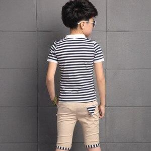 Image 4 - 3 13 lat letnie ubrania chłopięce zestaw 2019 moda 2 sztuki w stylu Casual, w paski z krótkim rękawem odzież dziecięca zestawy T shirt + spodnie