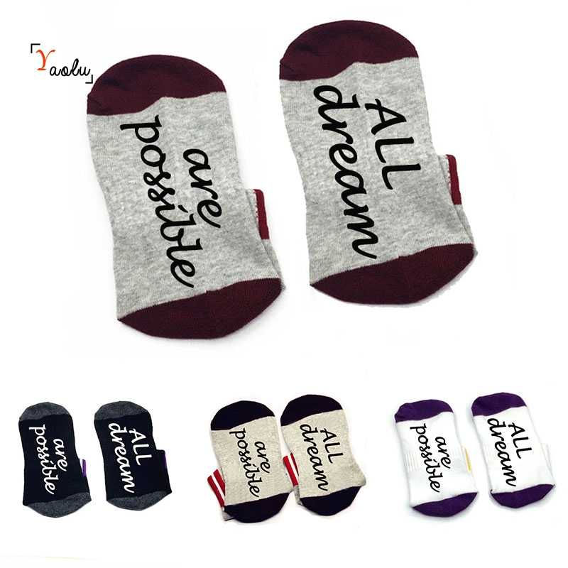 All Dreams Are Possible sock cotton unisex Sock Slippers ankle socks funny quote Get Lucky Dreams Typography Art sock