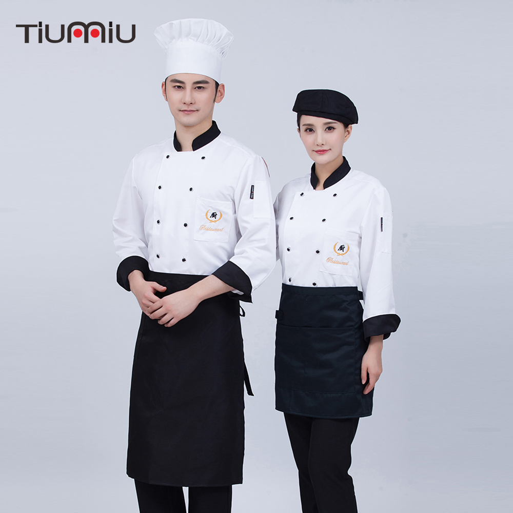 2019 Unisex Chef Uniforms Work Wear Jackets Long Sleeve Men Chinese Restaurant Kitchen Food Service Tops Coats Men Women