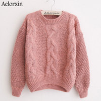 Women Sweaters Warm Pullover And Jumpers Crewneck Mohair Pullover Twist Pull Jumpers Autumn 2017 Knitted Sweaters