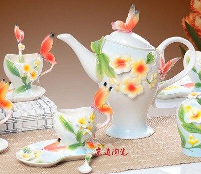 Phalaenopsis coffee tea set suite home hotel guest room wedding gift