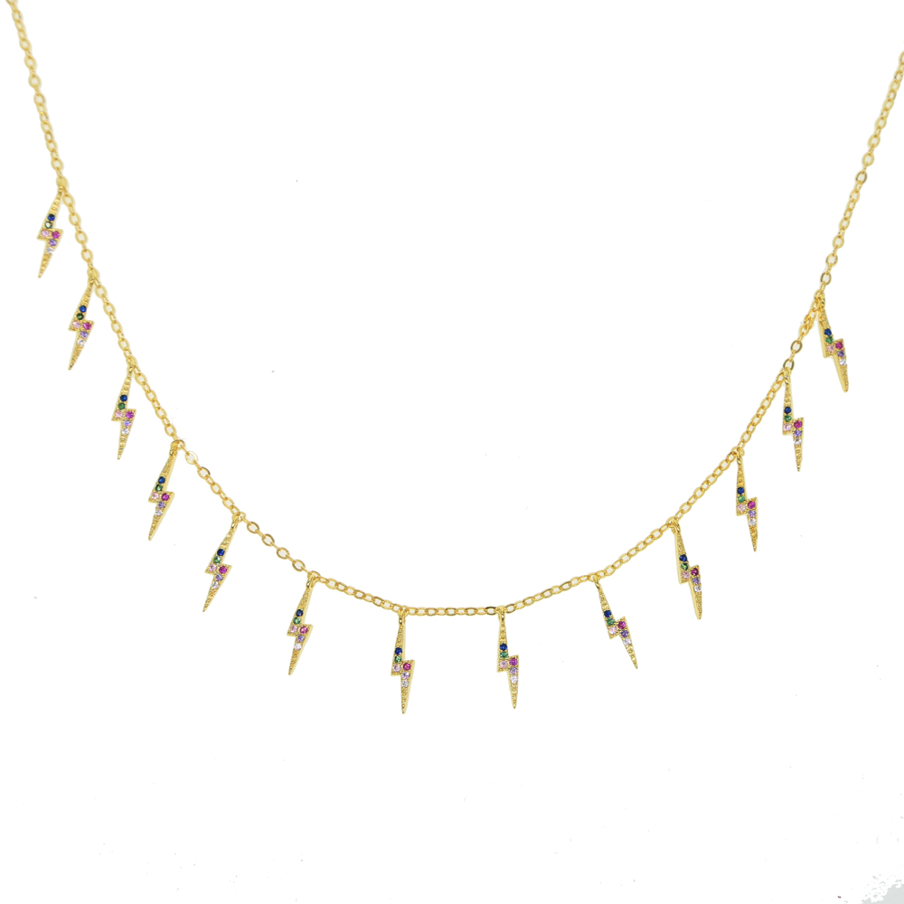 6a4144cd4ef59 Gold filled trendy fashion women jewelry lightning bolt charm choker  necklace 2019 new colorful cz jewelry