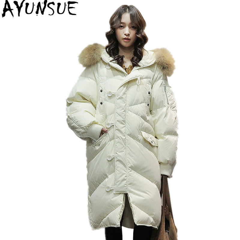 AYUNSUE 2018 Korean Style Winter Womens   Down   Jacket Oversize 90% Duck   Down     Coat   Women Long Large Real Raccoon Fur Hooded 6101490