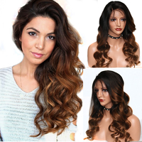 Eversilky Brazilian 360 Lace Frontal Wigs Ombre Color Remy Hair Body Wave Pre Plucked Full End Human Hair Lace Wigs for Women