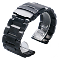 18/20/22/24mm Black Solid Stainless Steel Watch Band Strap for Men's Hours with  Folding Clasp   with Safety Buckle GD0171