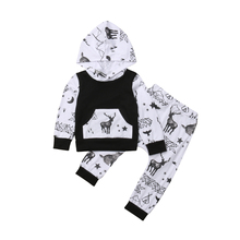 Newborn Toddler Baby Girl Autumn Spring Outfits Deer Clothes Hooded Sweatshirt Tops Pants Set 2019
