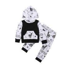 цена на Newborn Toddler Baby Girl Autumn Spring Outfits Deer Clothes Hooded Sweatshirt Tops Pants Set 2019