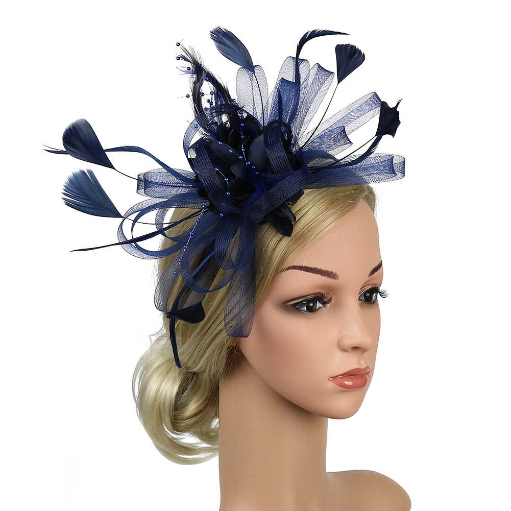 Banquet Fedoras Fascinator Headband Women Derby Day Party Hat Bridal Hair Accessory Wedding Cocktail Gift Feather Mesh Bowknot