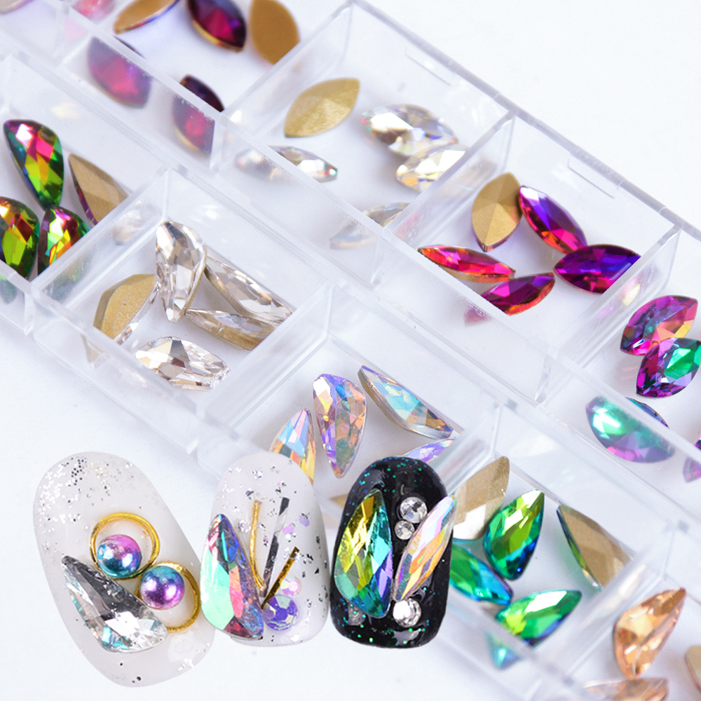 1 Box Colorful Nail Art Decoration Set Crystal AB Flame Large Shaped Rhinestones Shiny Stone 3D Wing Diamond DIY Manicure SACL 12 jars set colorful mini nail caviar glass rhinestones 12 colors micro beads balls manicure tools diy 3d nail art decoration