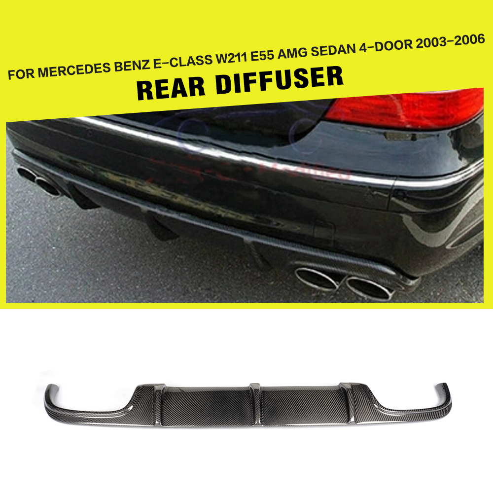 Carbon Fiber Racing Rear Bumper Diffuser Lip Spoiler for Mercedes Benz E-Class <font><b>W211</b></font> <font><b>E55</b></font> <font><b>AMG</b></font> Sedan 4-Door 2002 - 2006 image