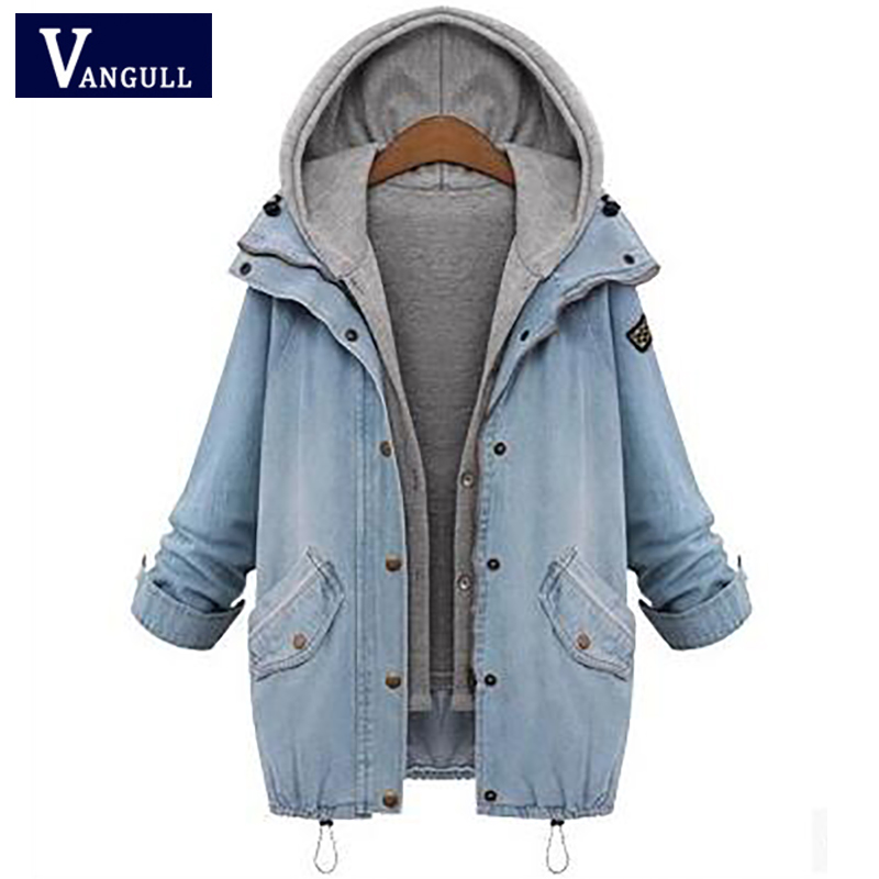 Casual Thick Jeans Women's Clothing 2018 Winter Hooded shorts and zipper Coats Two pieces Tops Loose solid Female   Basic     Jackets