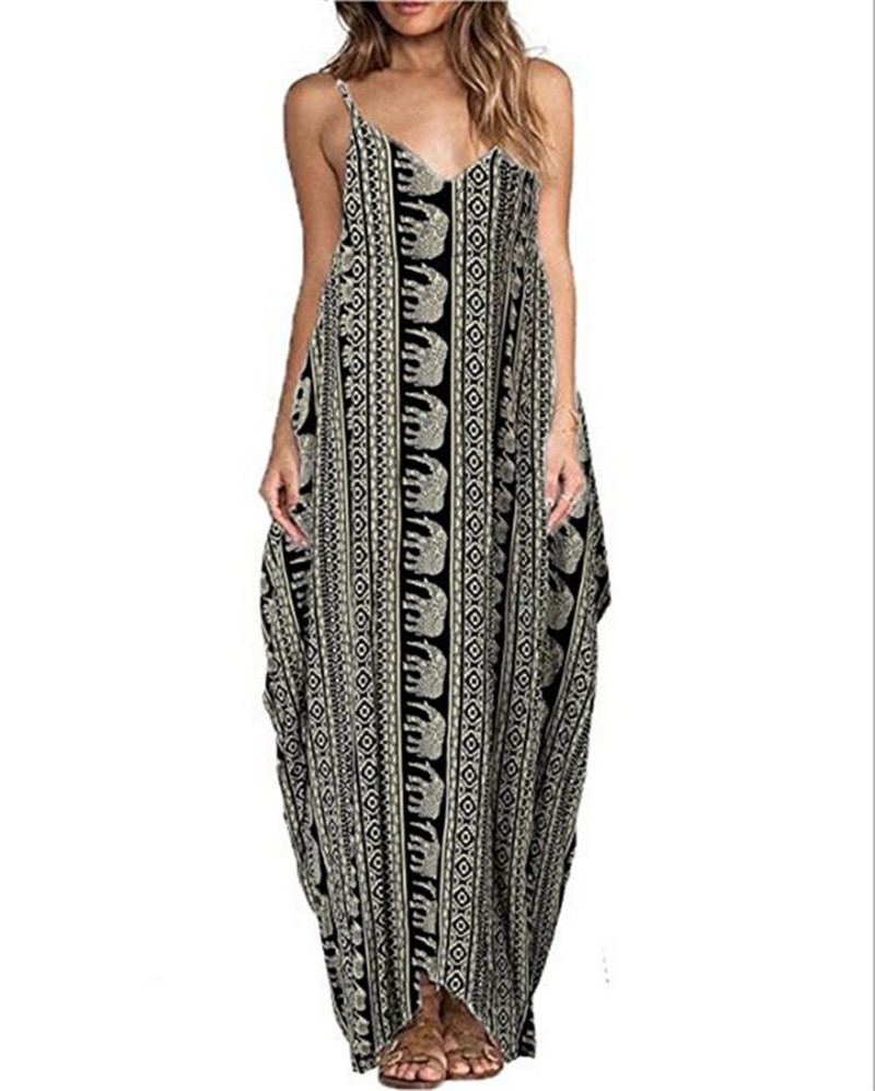 Print Floral Loose Boho Bohemian Beach Dress Women Sexy Strap V-Neck Retro Vintage Long Maxi Dress Summer 2018 Plus Size 3XL 4