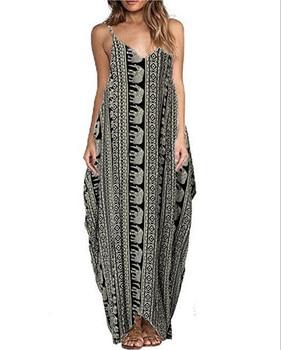 Print Floral Loose Boho Bohemian Beach Dress Women Sexy Strap V-Neck Retro Vintage Long Maxi Dress Summer 2018 Plus Size 3XL 4