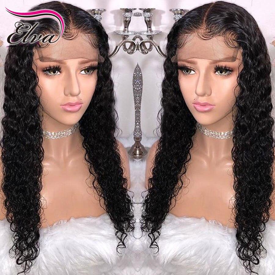 Волосы ELVA 13x4 вьющиеся Синтетические волосы на кружеве человеческих волос парики предварительно выщипанные волосы бразильский Волосы remy кр...