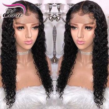 Elva Hair 13x6 Krullend Lace Front Menselijk Haar Pruiken Pre Geplukt Haarlijn Braziliaanse Remy Haar Kant Pruik Met baby Haar Natuurlijke Kleur