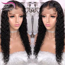 Elva Hair 13×6 Curly Lace Front Human Hair Wigs Pre Plucked Hairline Brazilian Remy Hair Lace Wig With Baby Hair Natural Color