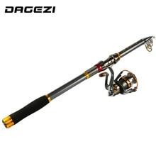 DAGEZI Telescopic fishing rod + Fishing Reel 2.1-3.6M EVA handle fishing rod Combo for feeder fishing pesca