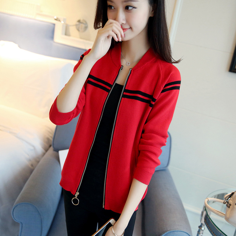 Women's Knitted Jacket Women's Spring and Autumn Spring 2018 Autumn New Women's Cardigan Sweater Short