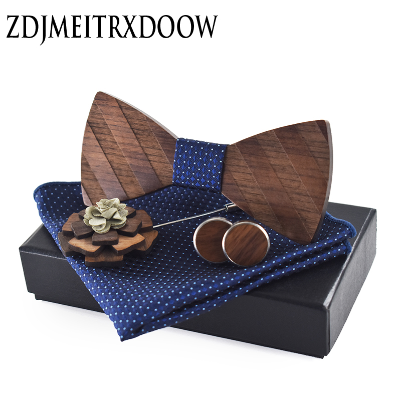 ZDJMEITRXDOOW Pocket Square Brooch Gravata Tie Hanky Cufflink Sets Striped Wooden Bow Tie Ties For Mens