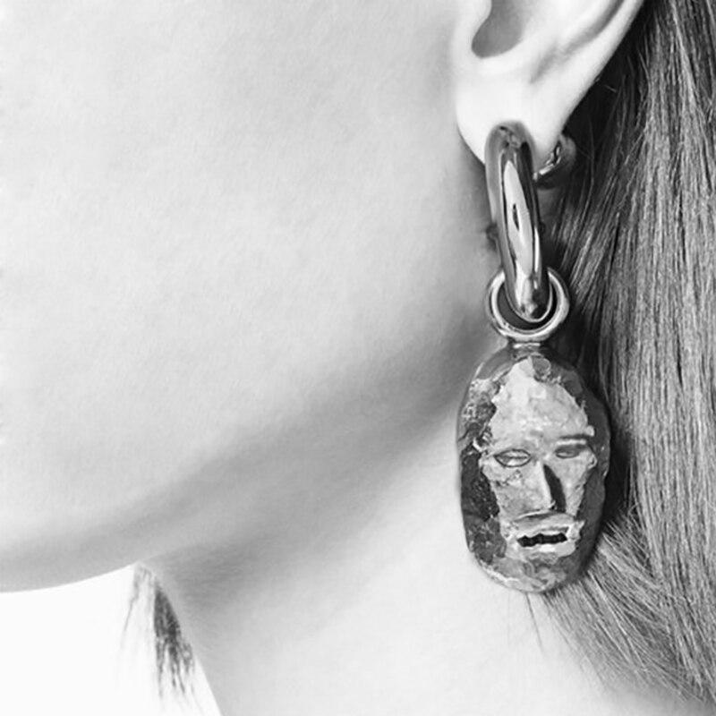 Metal face design pendant earrings stylish earrings