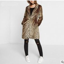 Brieuces new winter Women Midum-Long Faux Fur Leopard Coat Jacket Casaco De Pele Falso Coats Veste Fourrure