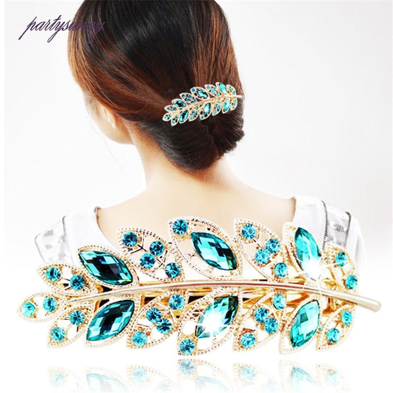 PF Leaf Shape Hairpins Crystal Cute Headwea…