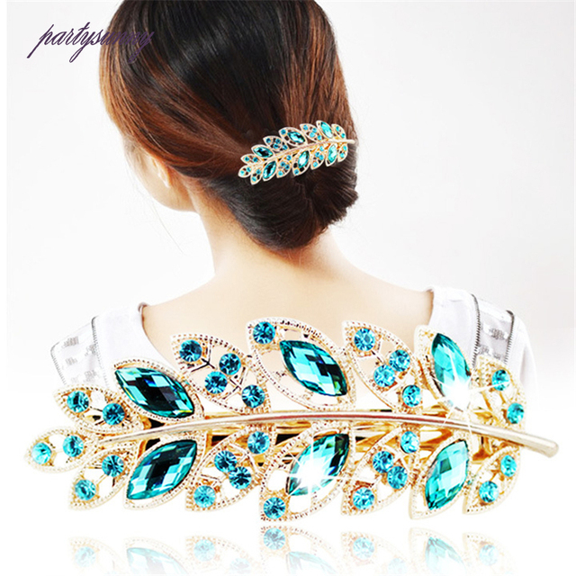 PF Leaf Shape Hairpins Crystal Cute Headwear Alloy Hair Clips Barrette Women Girls Headdress Spring Clip Hair Accessories TS1160