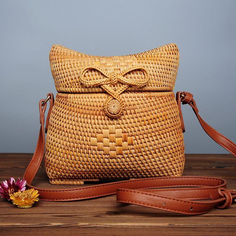 Travel Beach Circle pu Leather Shoulder Bag Summer Straw Bag Sunflowe Knitted Rattan Bag Lady Handbag Crossbody Bag