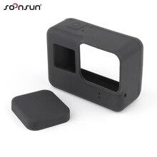 SOONSUN мягкий силиконовый защитный чехол, кожаный чехол + резиновая крышка для объектива, защитный чехол для GoPro Hero 7 6 5 Black Go Pro 7, аксессуар