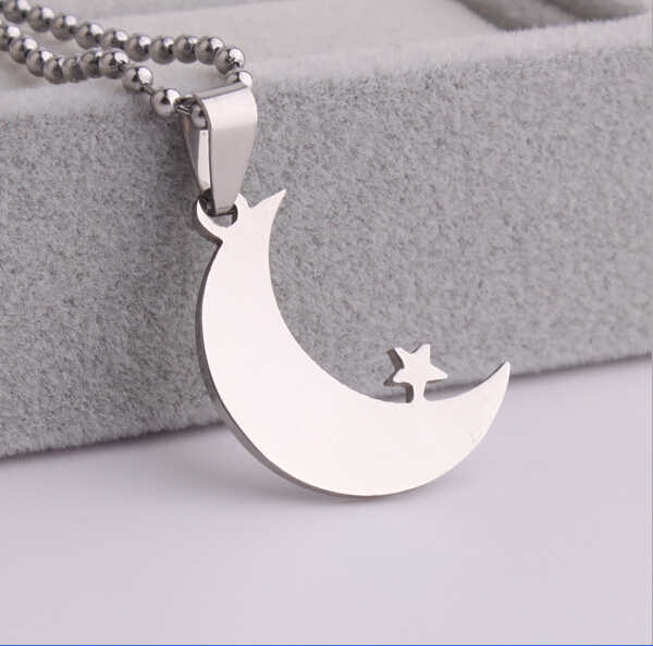 Fashion Silver Tone Stainless Steel Islamic Crescent Moon Star Pendant Necklace For Muslim Religious Jewelry