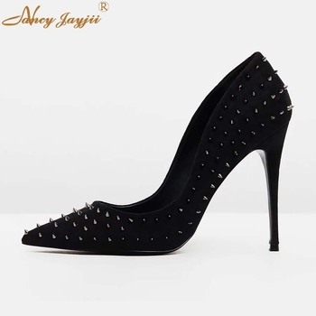 Black Hue Rivets Stiletto Super High Heels pointed Toe Pumps Womens Shoes Dress Party Big Size 10 13 Slip on Career Spring 2019
