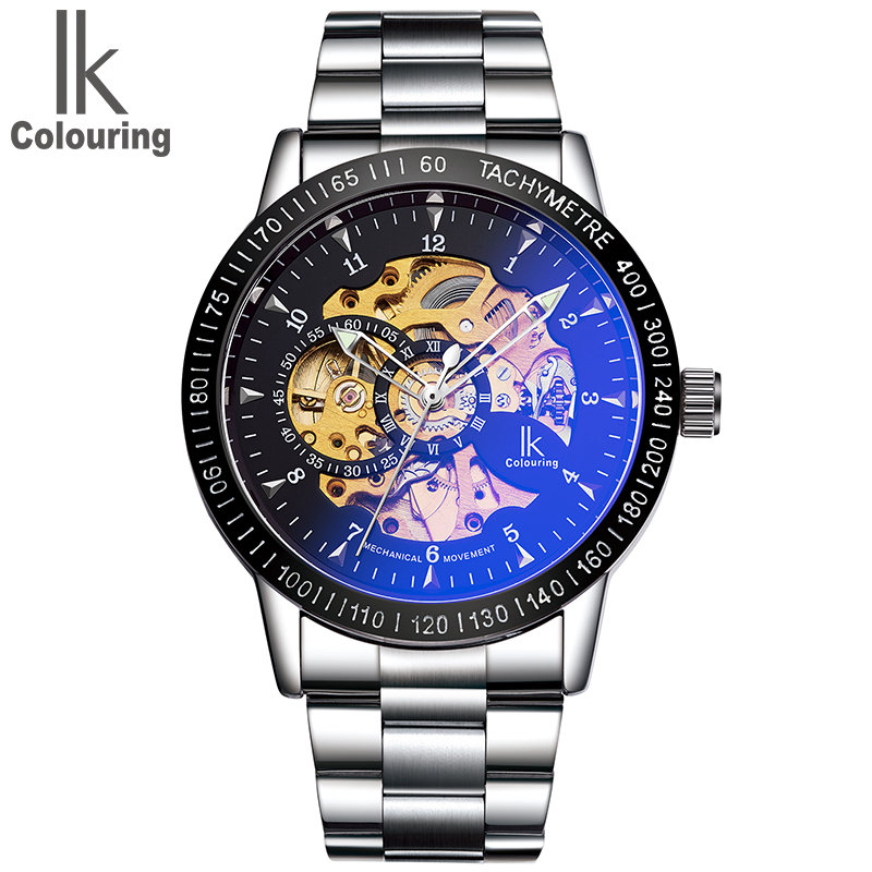 IK Coloring Watch 2017 Men's Luminous Hands Gears Visible See Through Auto Mechanical Wristwatch with Box Free Ship coloring of trees